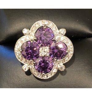 Amethyst and CZ Silver Flower Ring size 5 3/4